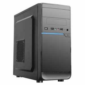 Купить HPC D-08  mATX, Shiny Black + Blue decoration